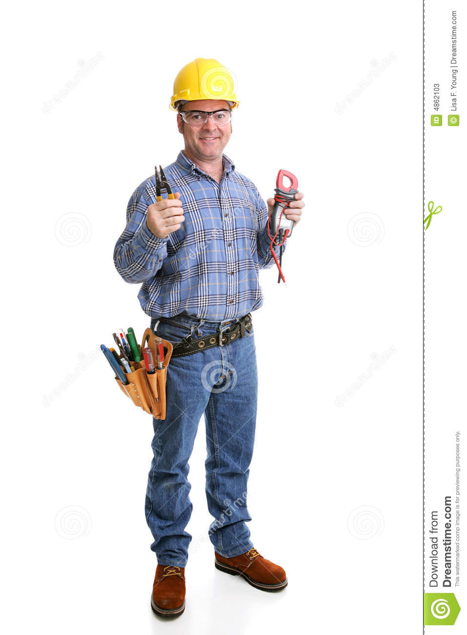 Friendly Electrician Full Body Stock Image  Image 4862103