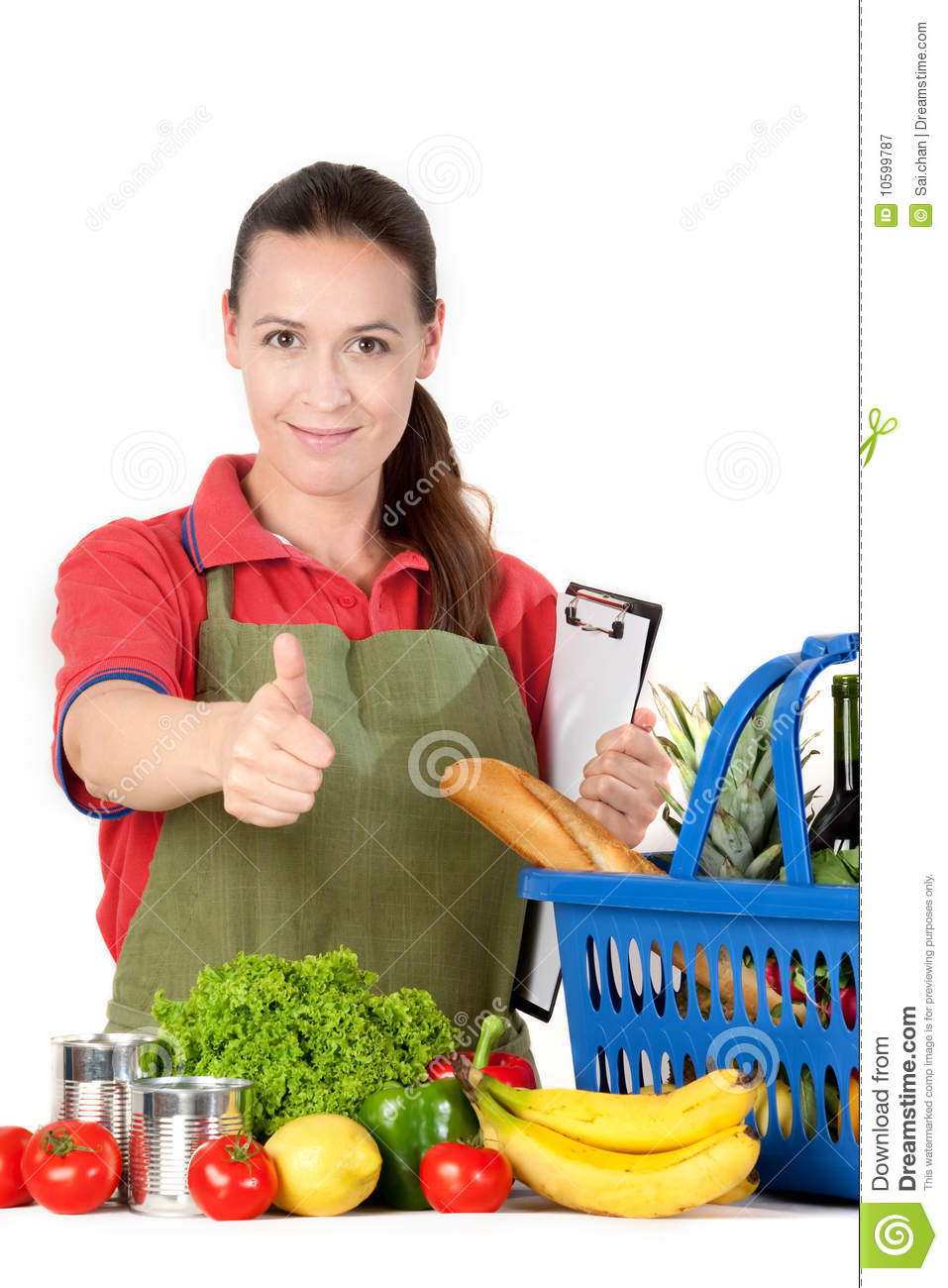 Royalty Free Stock Photography Friendly Grocery Store Assistant Image 10599787