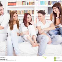 Sofa From Friends Get Cushions Restuffed Having Conversation On Royalty Free Stock