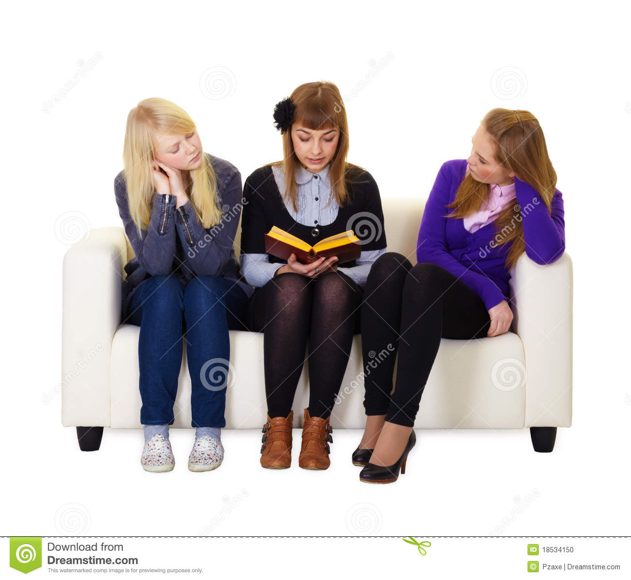 Friends Read The Book Stock Photo