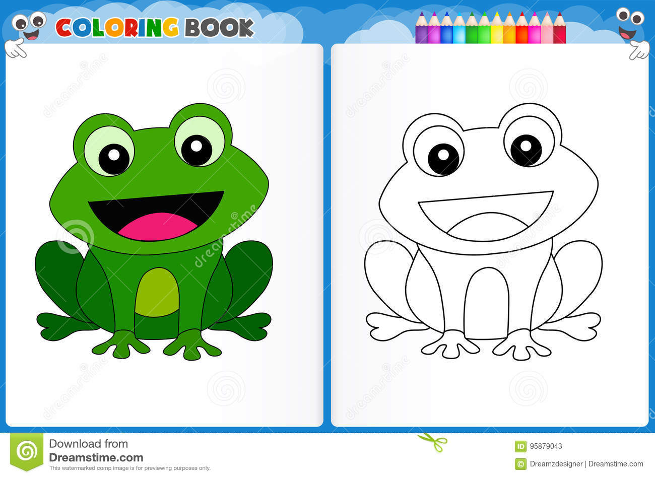 Frog Coloring Page Stock Illustration Illustration Of