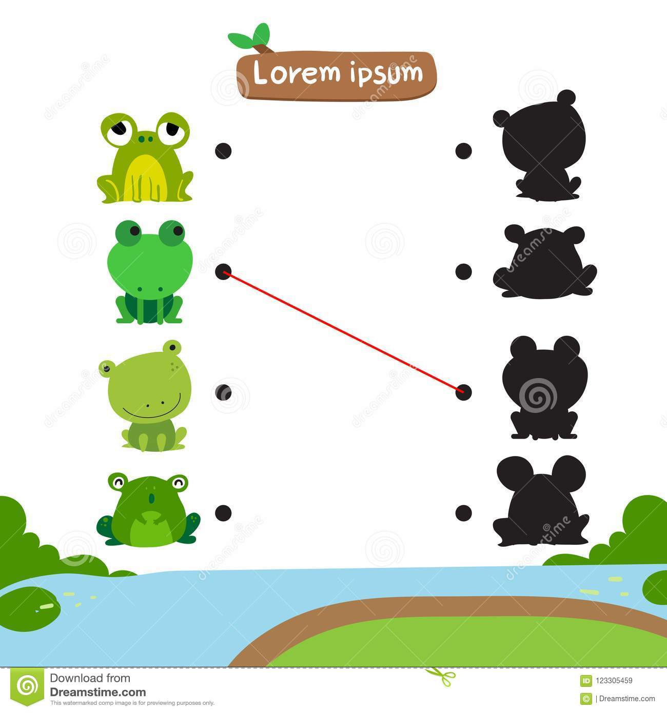 Frog Matching Game Vector Design Stock Vector