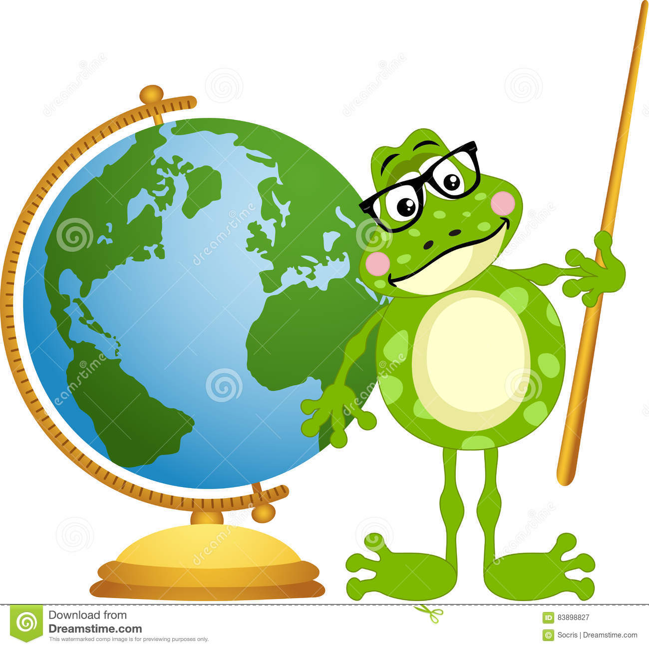 hight resolution of frog teacher with globe