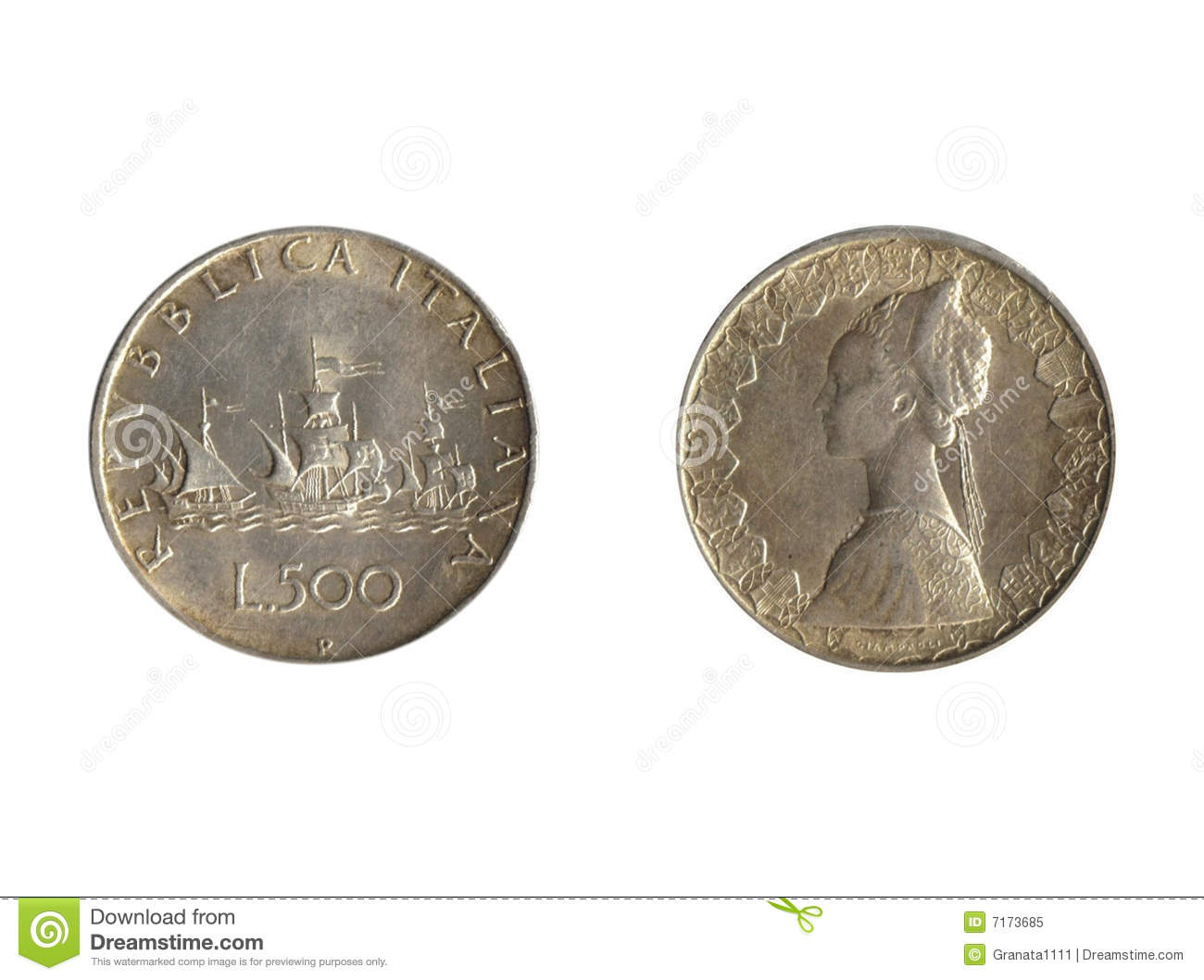 Front Back Italian Coin Royalty Free Stock Photo