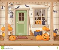 Front Door And Porch Decorated For Halloween. Vector ...