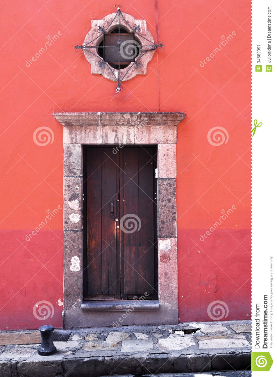 Front Of An Old Mexican House  Colonial Style Door And Window Stock Image  Image of house