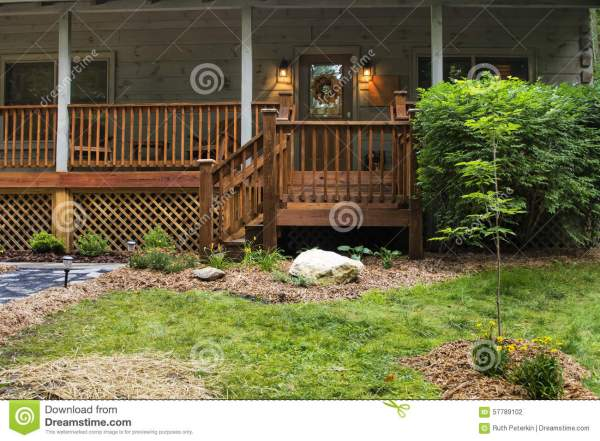 front porch cabin stock