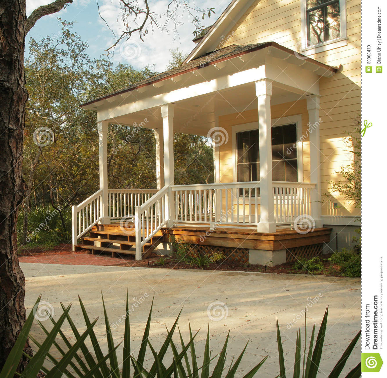 Front Porch Of Yellow House Stock Photo  Image 38008470