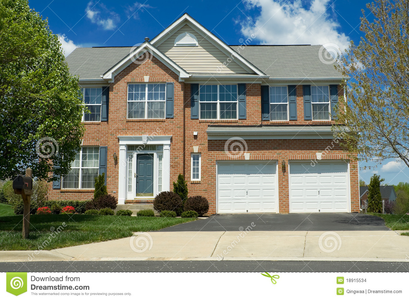 Front View Brick Single Family Home Suburban MD Stock