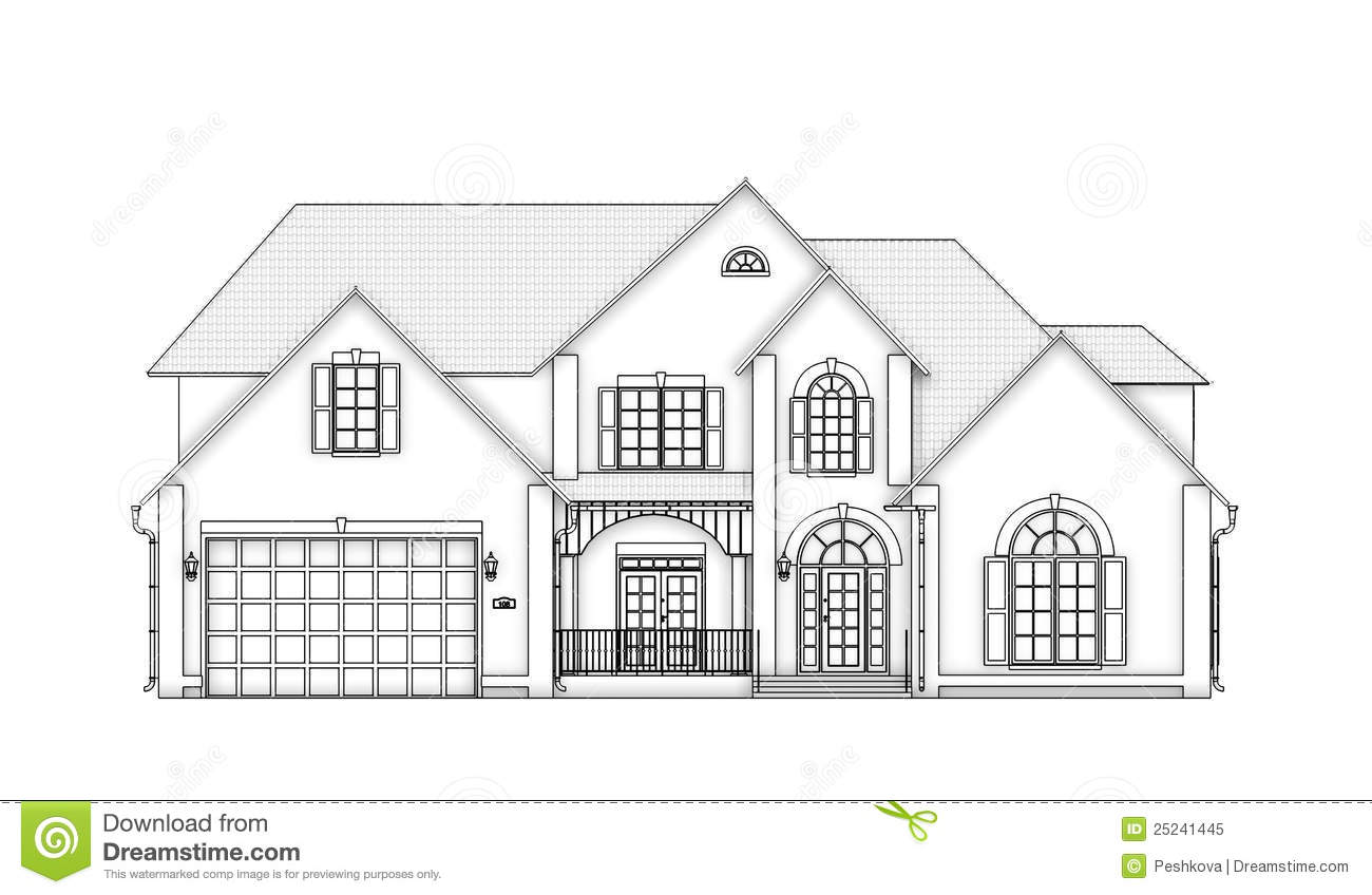 Front view contour house stock illustration. Image of