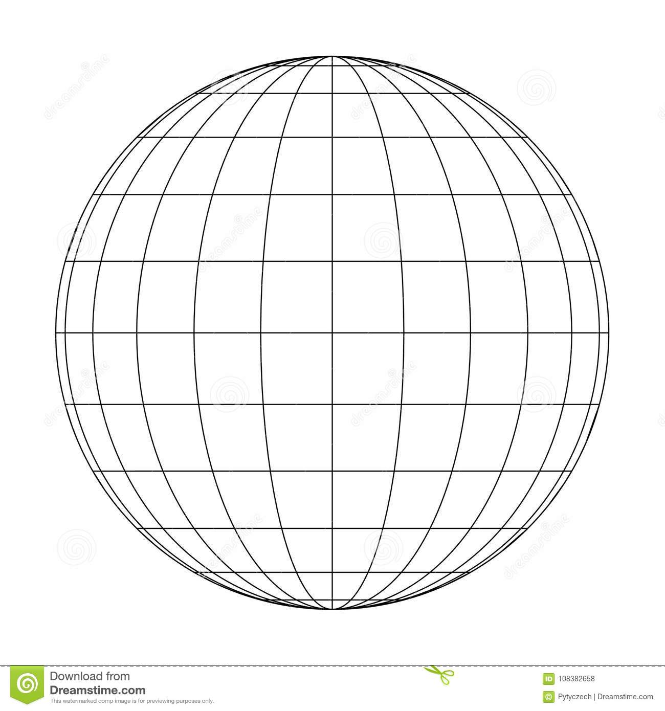 Front View Of Planet Earth Globe Grid Of Meridians And