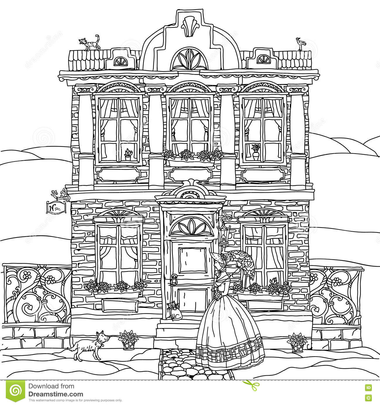 Frontage Of A House With Flowers Stock Vector