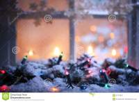 Frosted Window With Christmas Decoration Stock Image ...