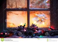 Frosted Window With Festive Lights Stock Photography ...