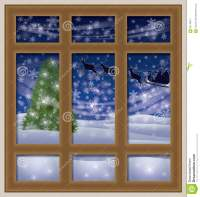 Frosted Window And Santa Claus, Winter Background Stock ...