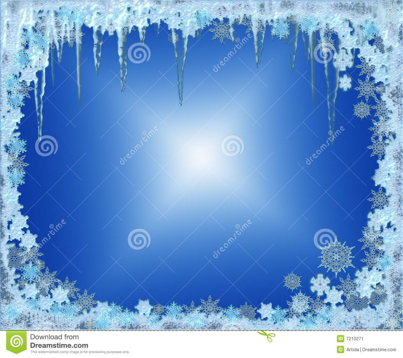 Frosty Christmas Frame With Snowflakes And Icicles Stock