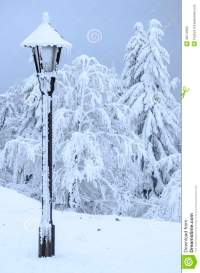 Frozen Lamp In Winter In The Hills Stock Image