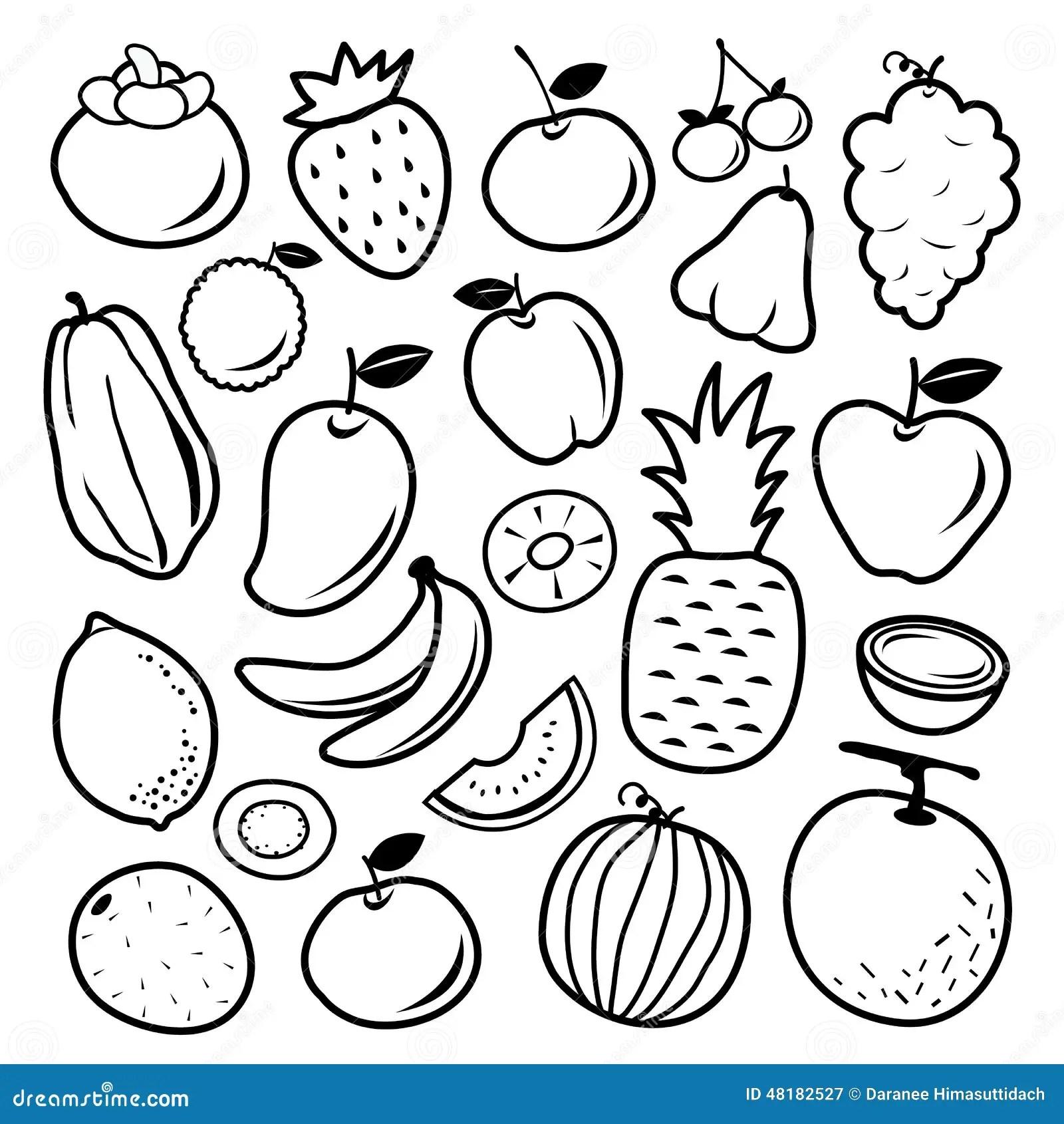 Fruit Cartoon Black Icon Design Vector Stock Vector