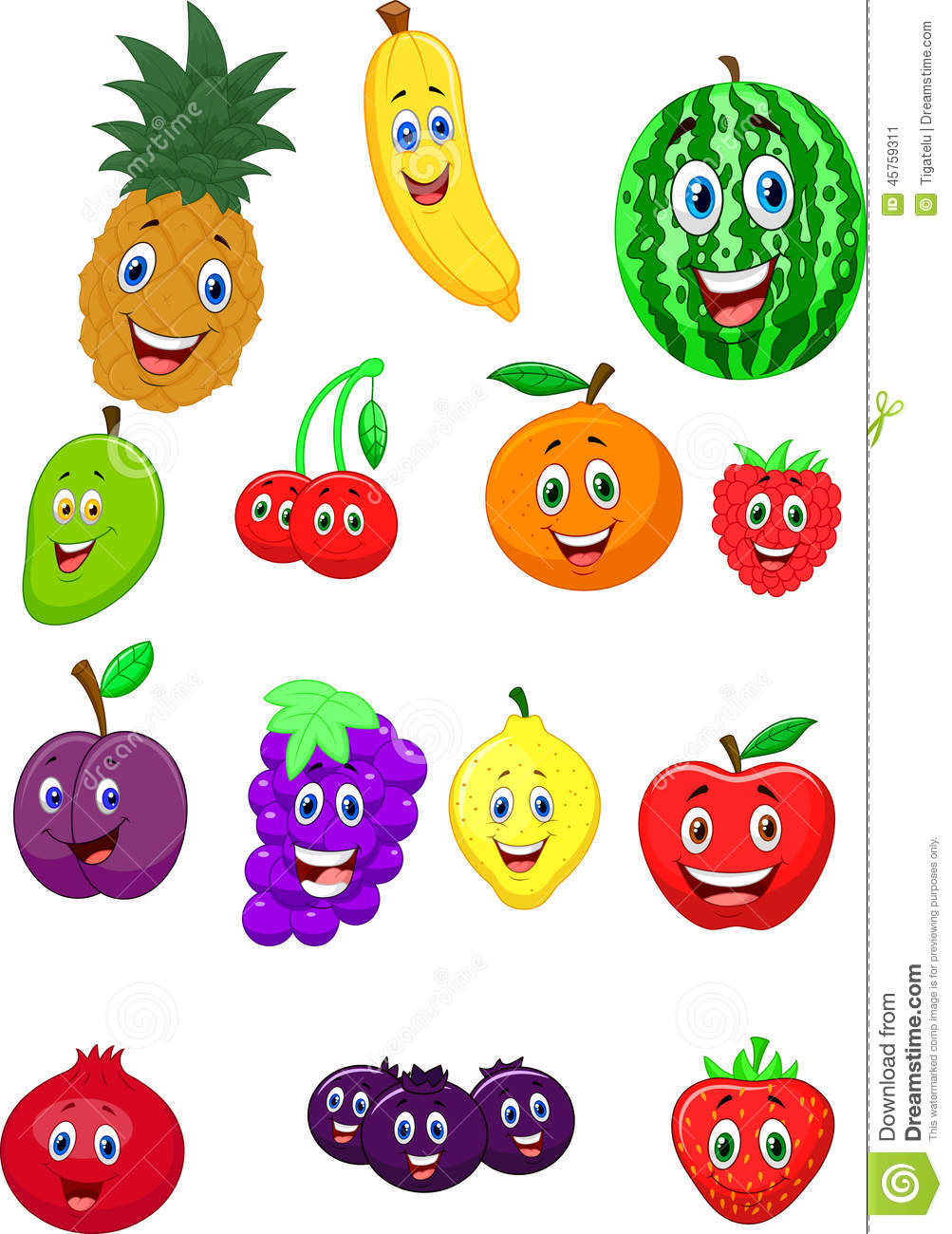 Fruit cartoon character stock vector Illustration of
