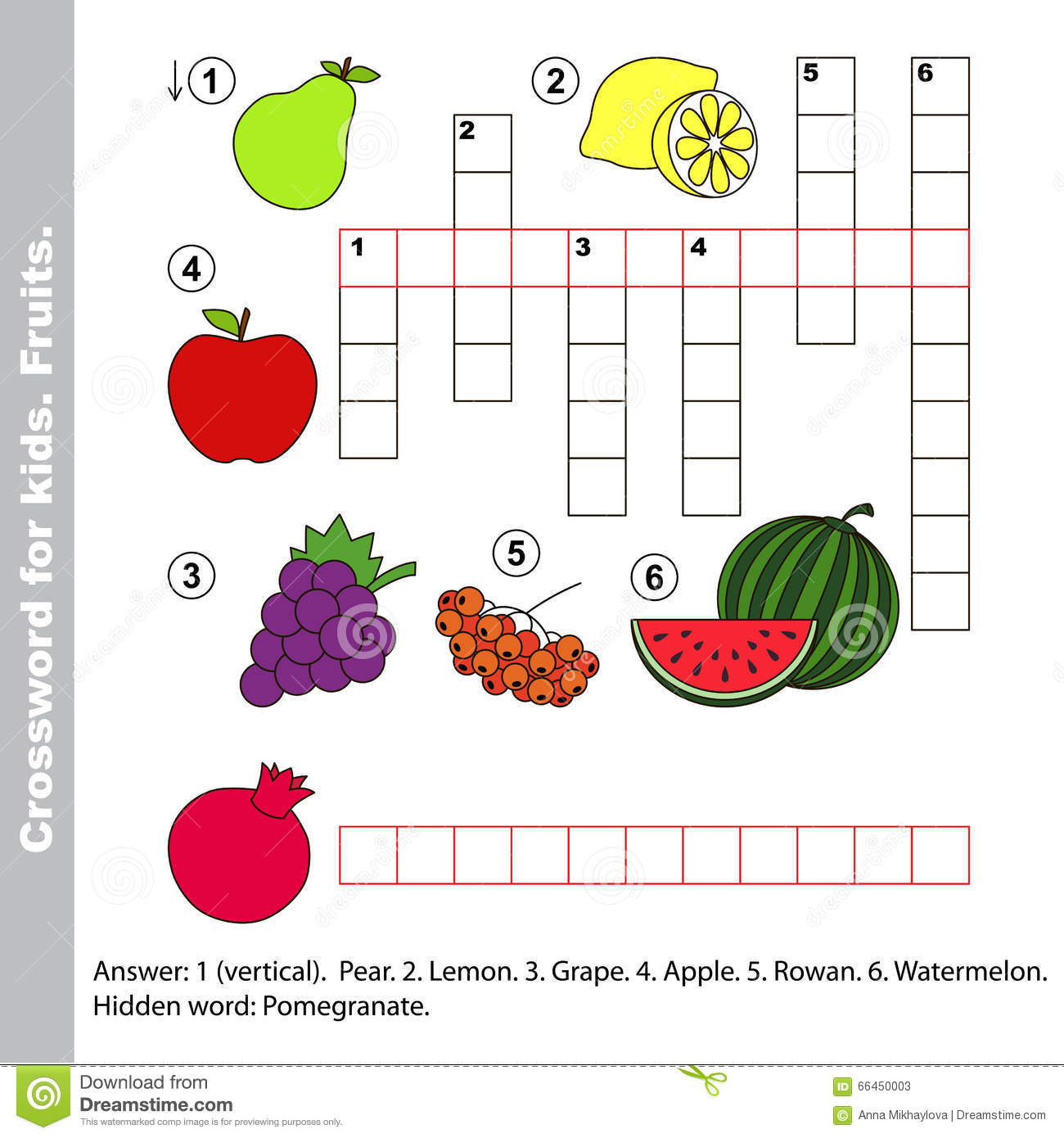 Fruit Crossword For Kids Stock Vector Illustration Of