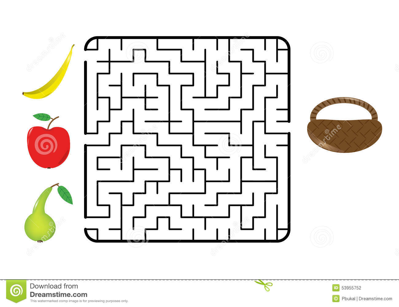 Fruit Maze Stock Vector Illustration Of Enter Goal