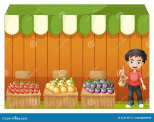 boy fruit fruits een selling young cartoon rossa ragazzo negozio giovane frutta camicia porta che della jonge fruitwinkel dragen jongen