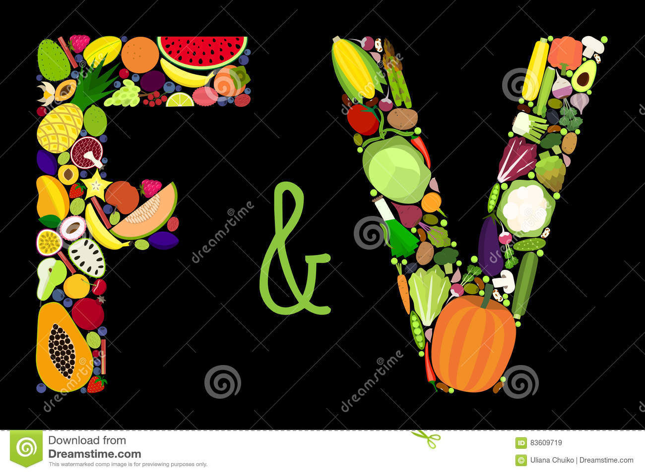 Vegetable And Fruit Letters