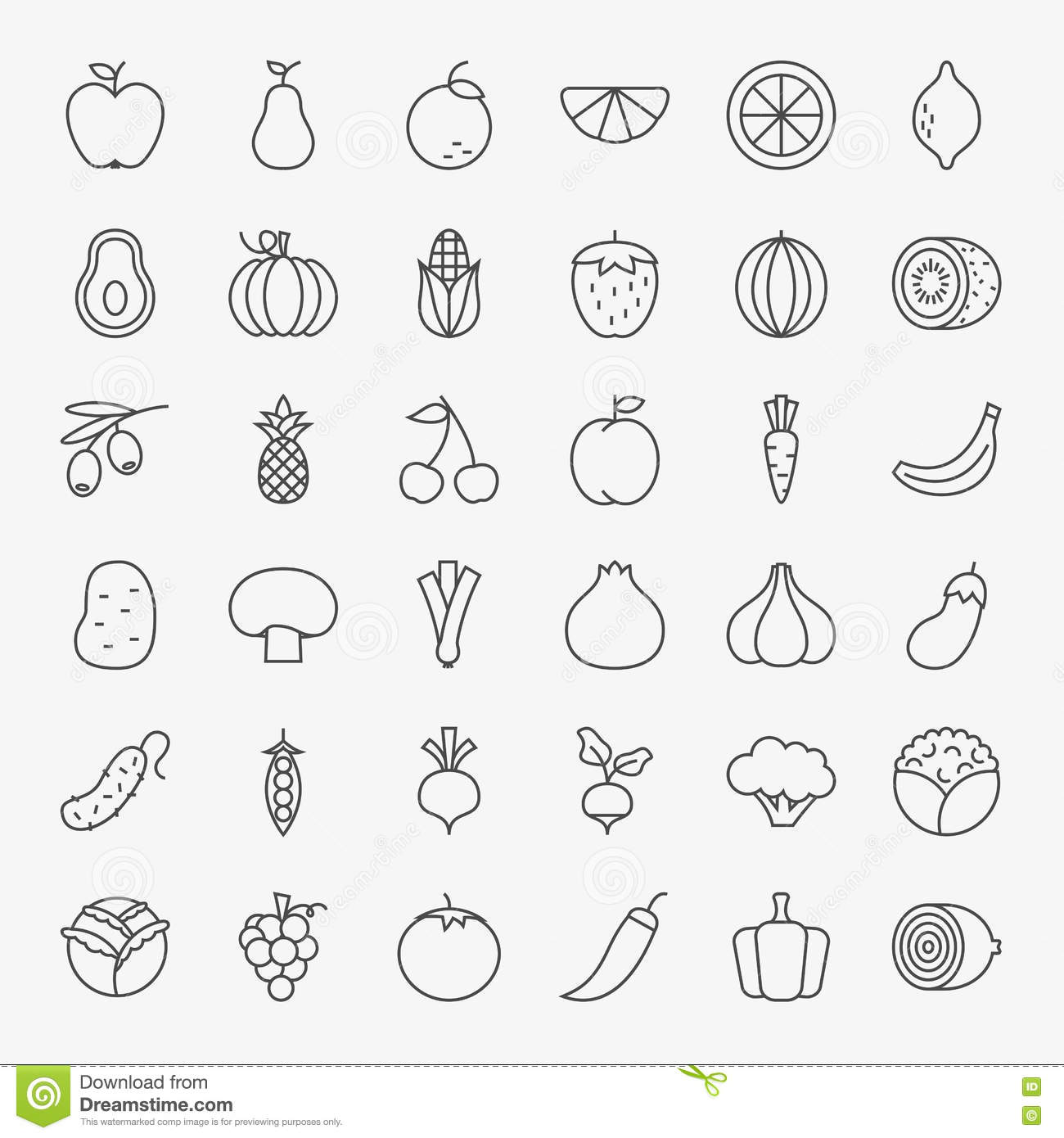 Fruit And Vegetable Icons Set Cartoon Vector