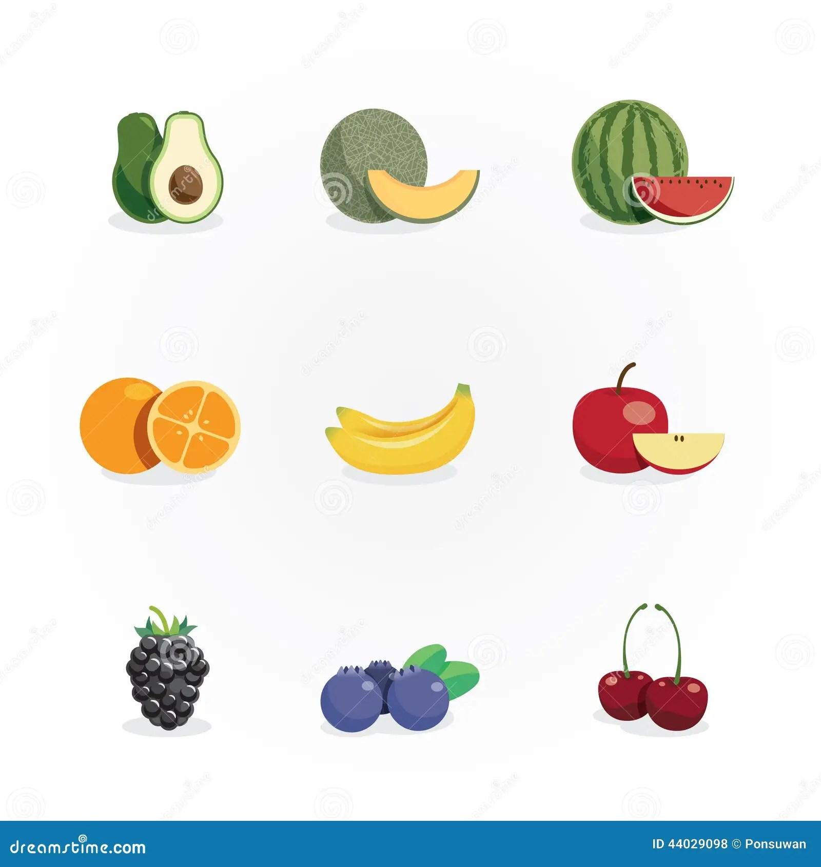 Fruits Icons Colour Design Vector Stock Vector