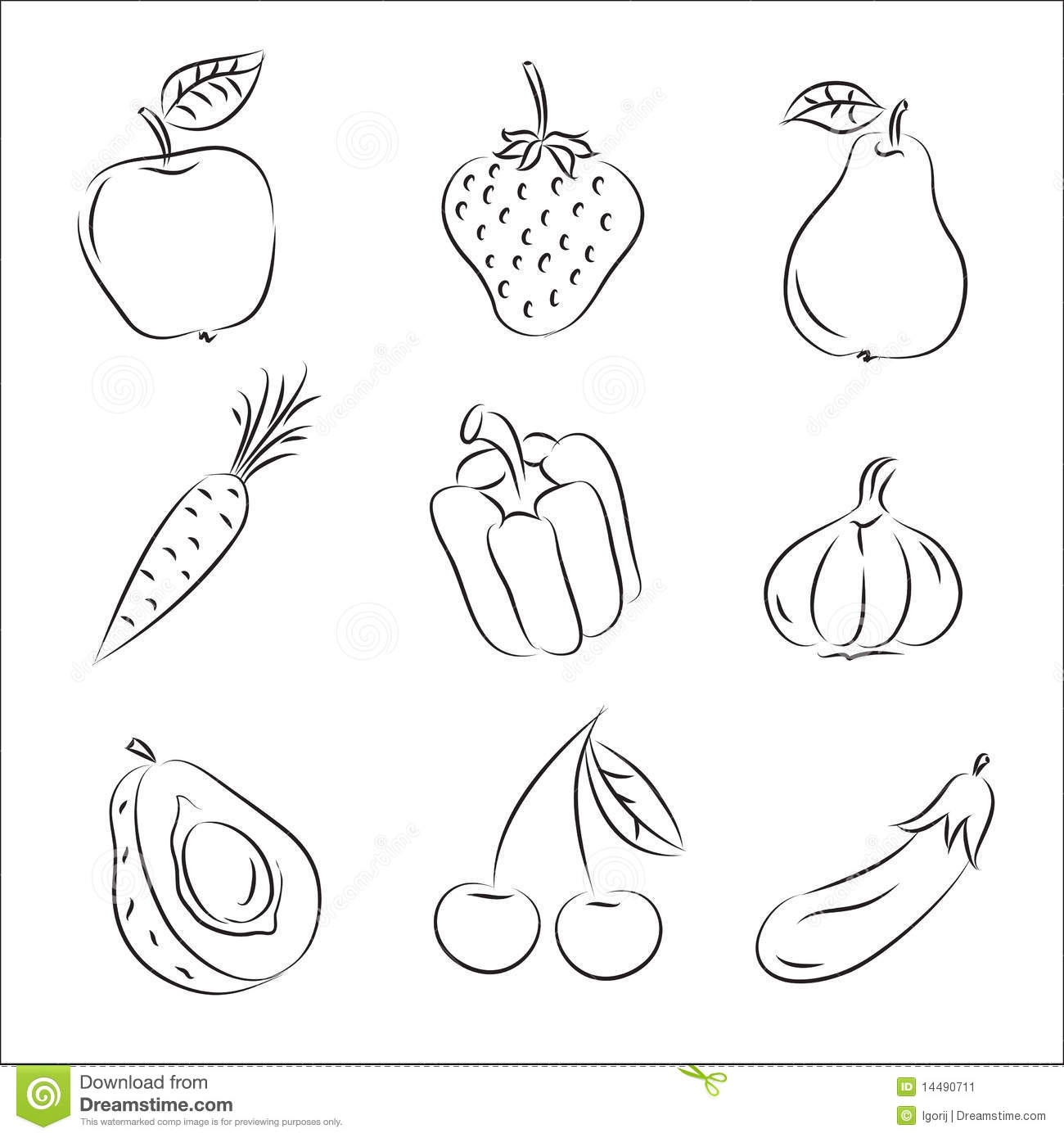 Fruits and Vegetables stock vector. Illustration of eating