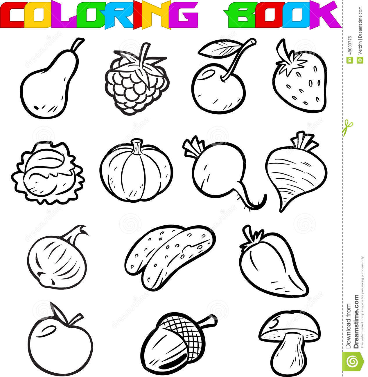 Fruits And Vegetables For Coloring Stock Vector