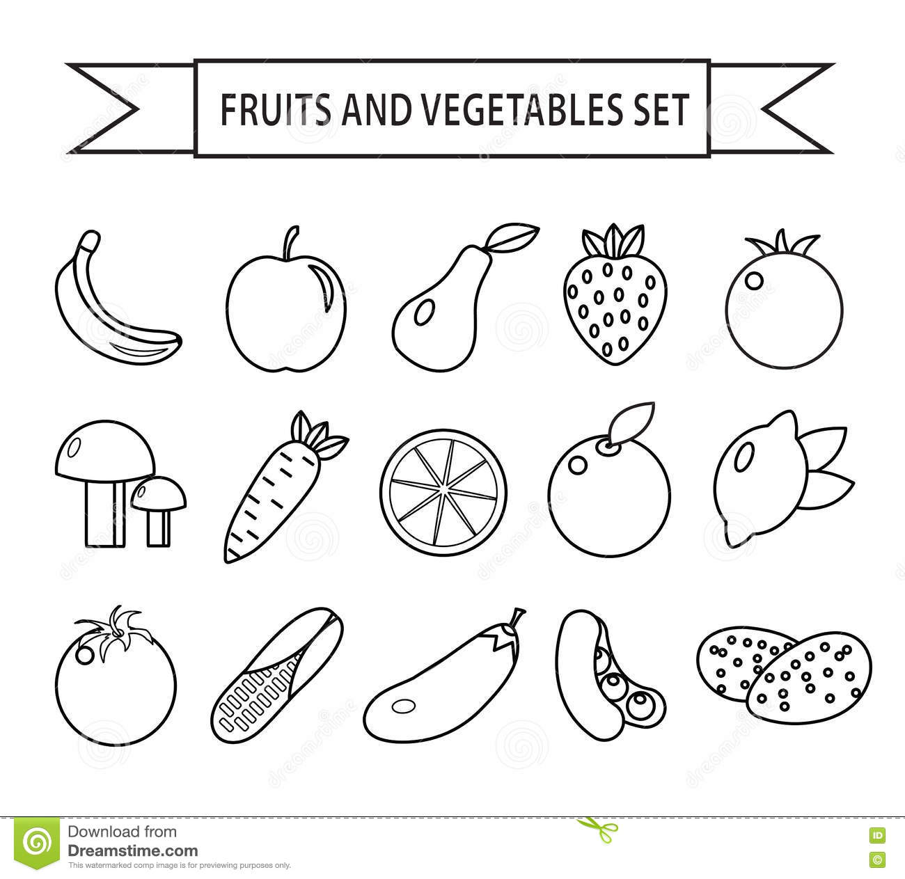 Fruits And Vegetables Icon Set Line Style Fruits And