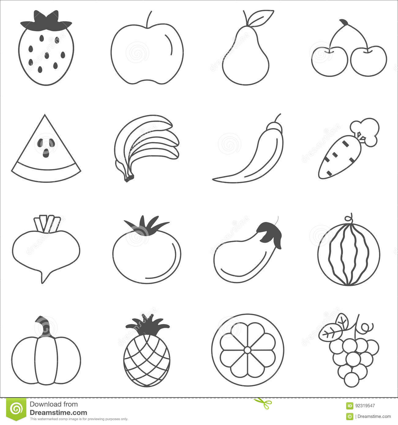 Fruits And Vegetables Sketch Vector In Black Doodle On