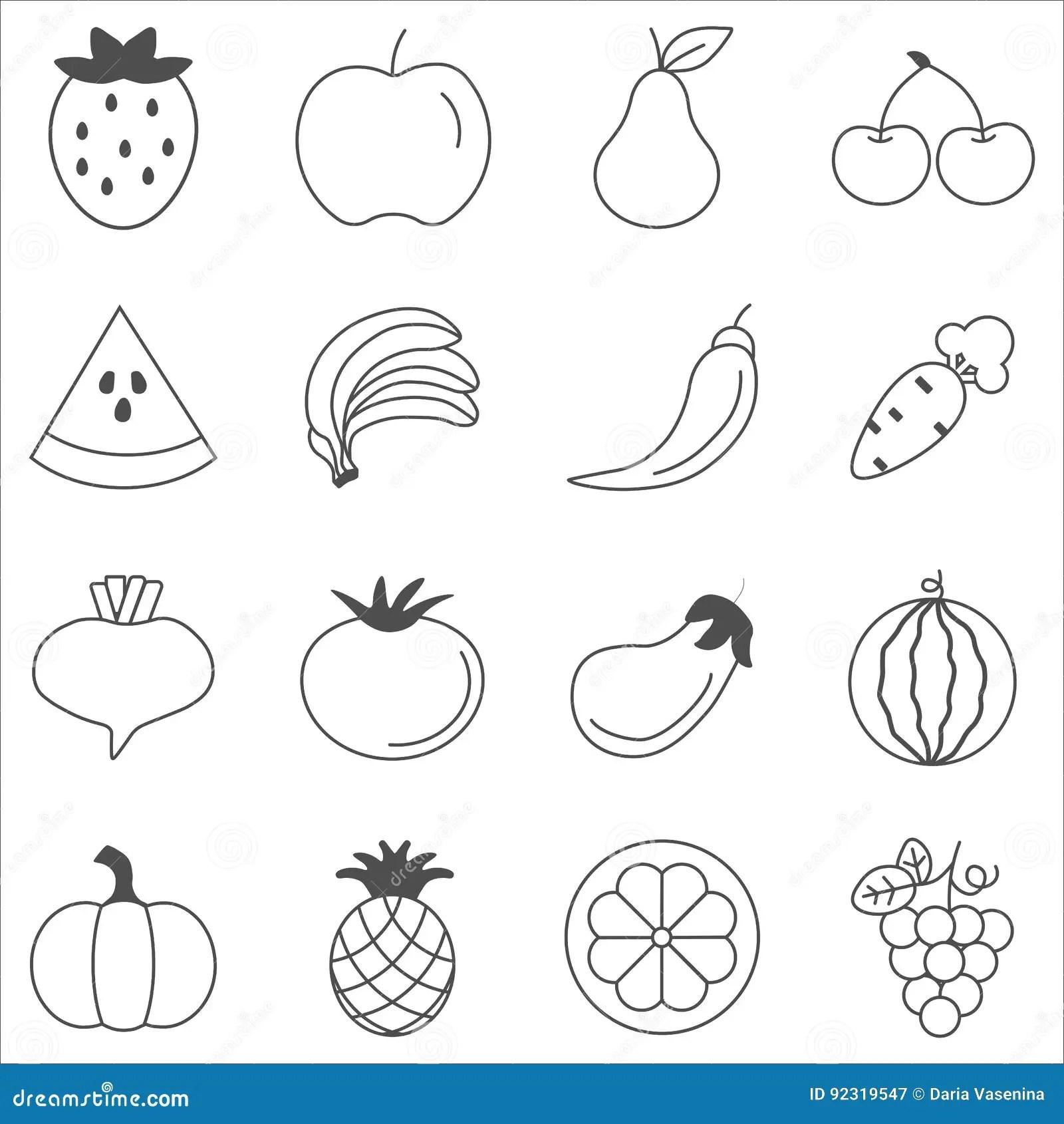 Fruits And Vegetables Sketch Vector In Black Doodle On