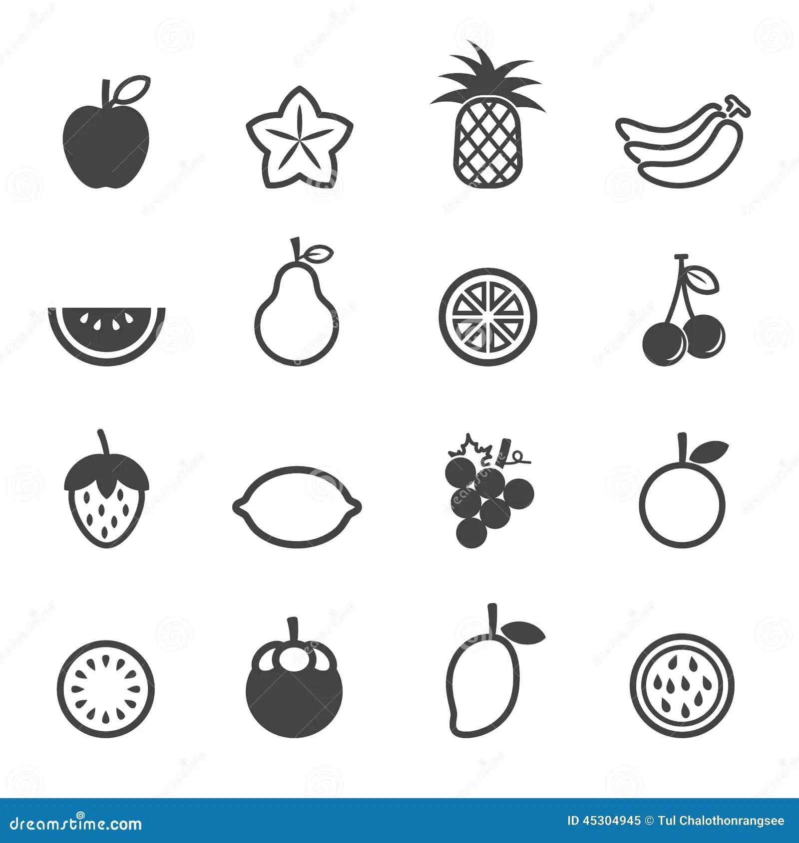 Fruktvektorsymboler Vektor Illustrationer Illustration Av Pictogram