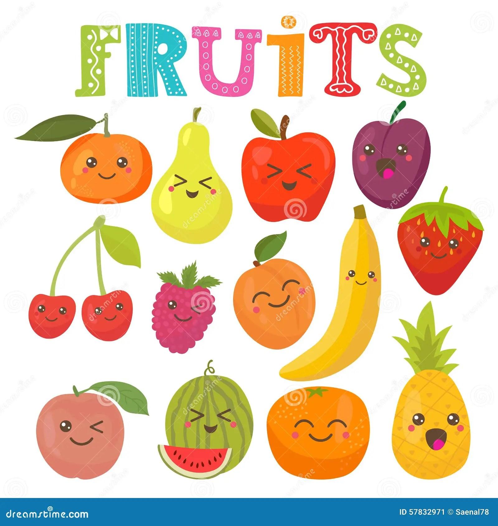 Frutas Sonrientes Del Kawaii Lindo Coleccin Sana Del