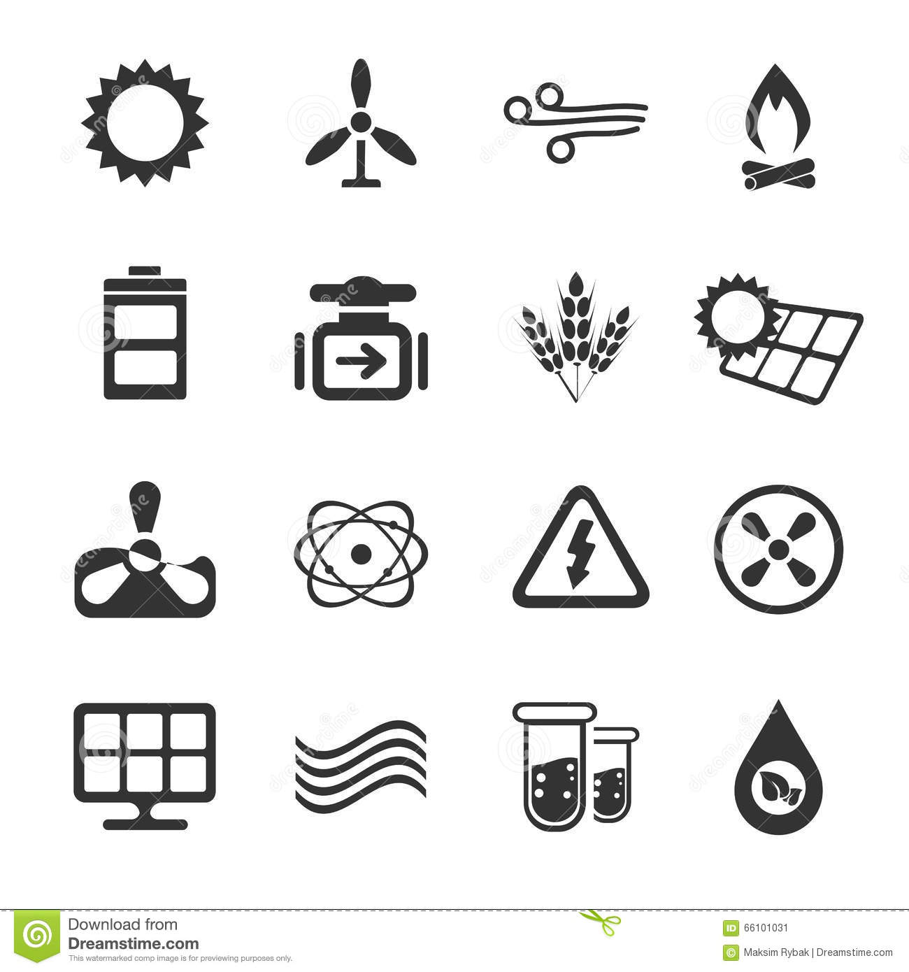 Fuel And Power Generation Icons Stock Photo
