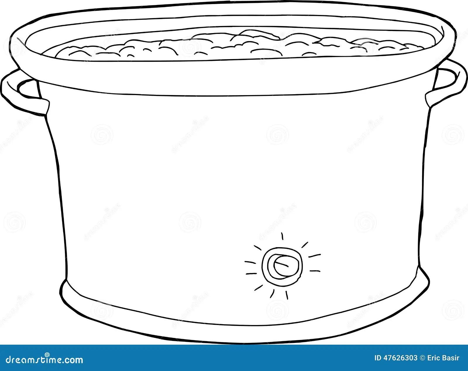Full Crock Pot Outline stock vector. Illustration of metal