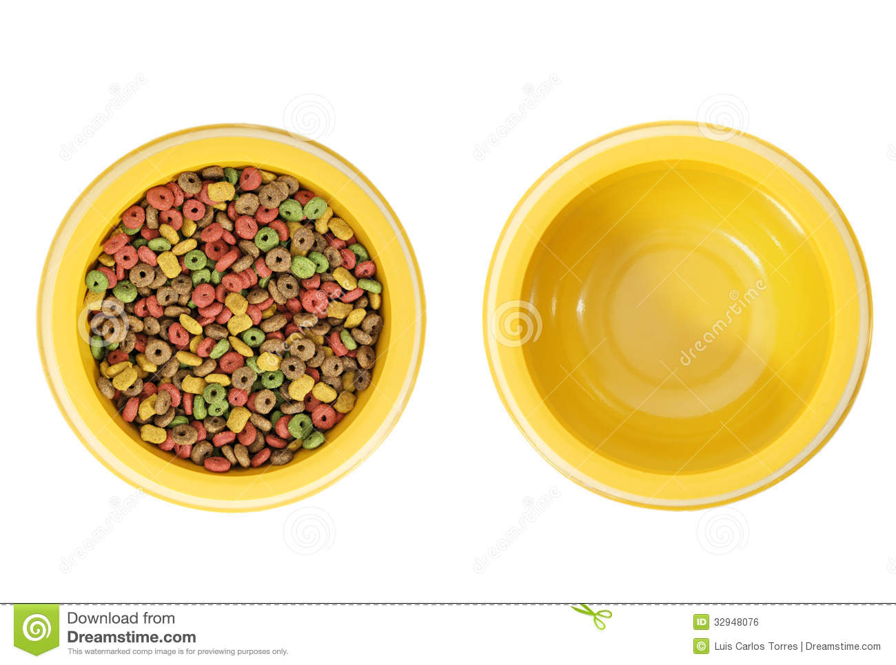 Full And Empty Dog Bowl Royalty Free Stock Image