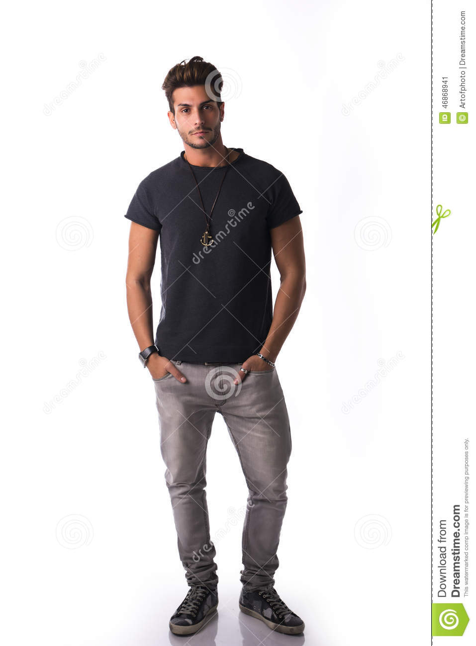 Full Figure Of Handsome Young Man Standing Confident In