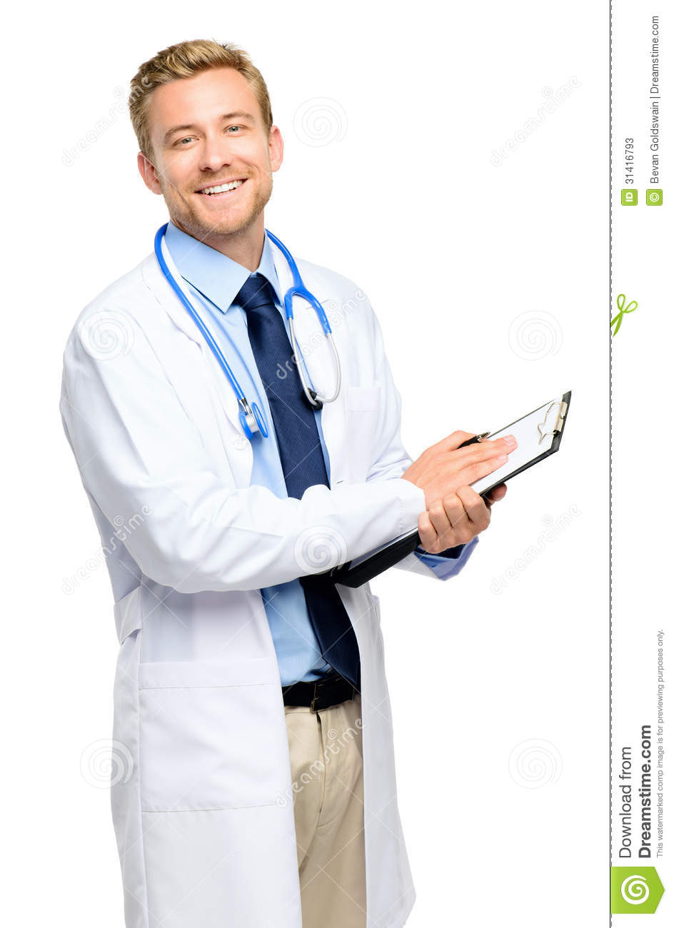 Full Length Of Confident Young Doctor On White Background