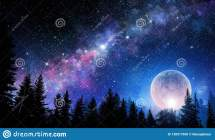 Full Moon In Night Starry Sky Stock Illustration