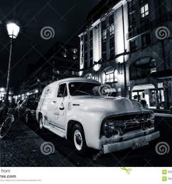 berlin germany october 13 2015 full size pickup truck ford f100 panel van 1953 second generation on the night street black and white ford f series  [ 1300 x 957 Pixel ]