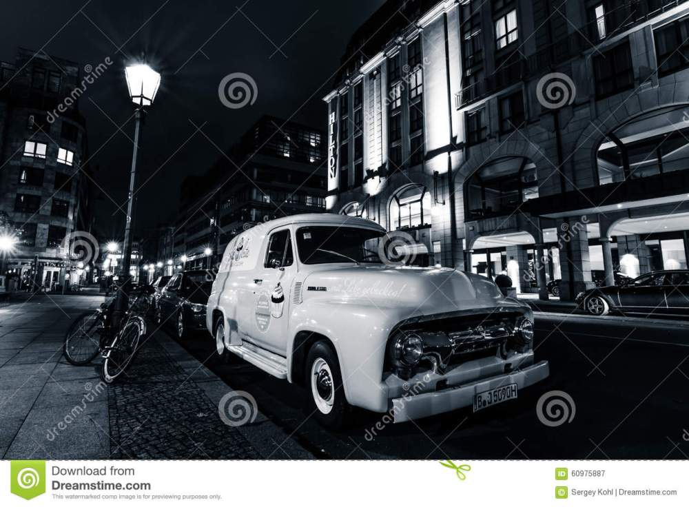 medium resolution of berlin germany october 13 2015 full size pickup truck ford f100 panel van 1953 second generation on the night street black and white ford f series