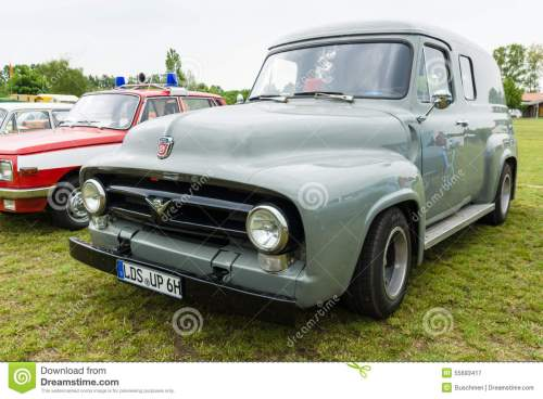 small resolution of paaren im glien germany may 23 2015 full size pickup truck ford f100 panel van 1953 the oldtimer show in mafz