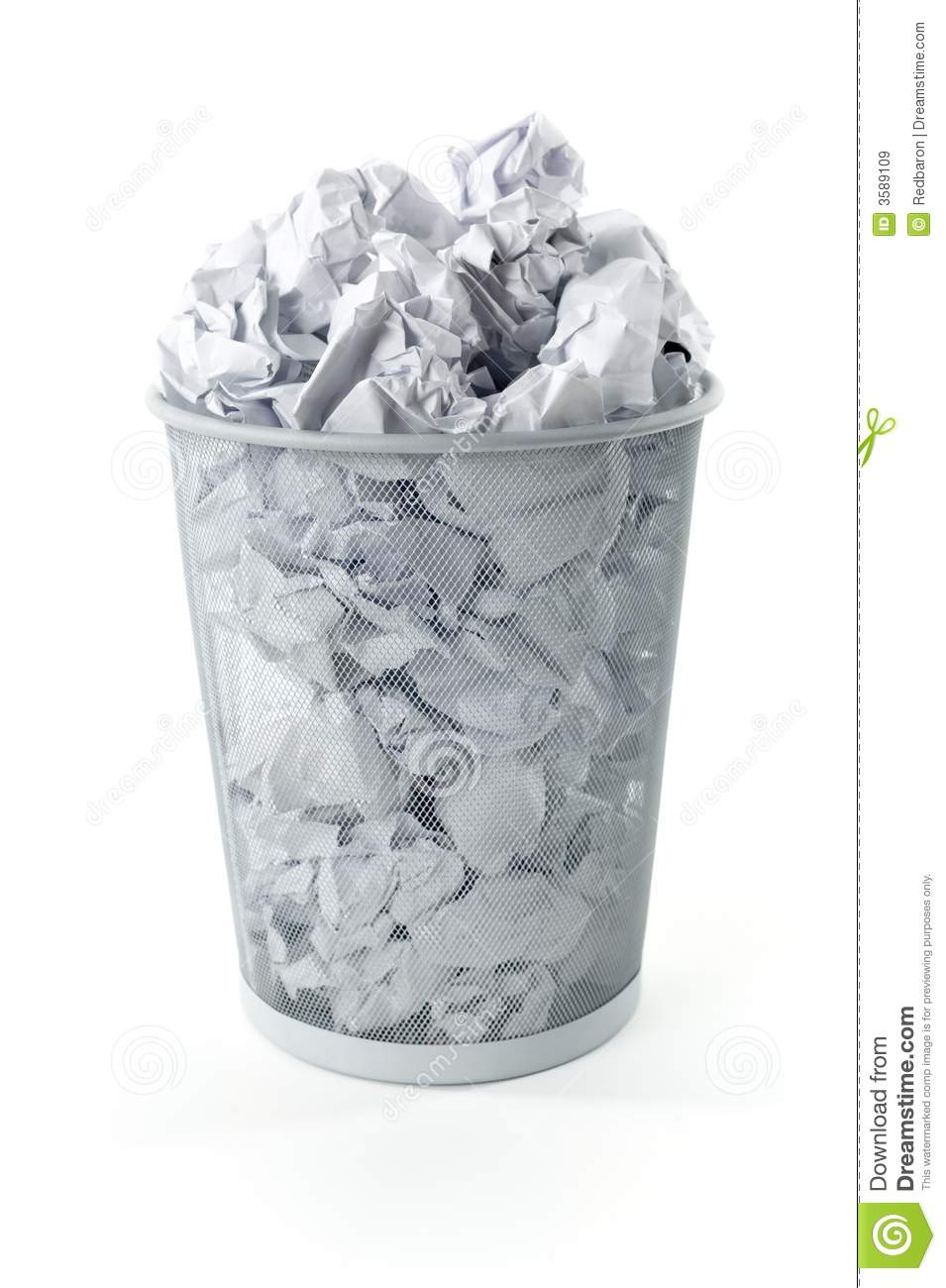 Full trashcan stock image Image of isolated metal office  3589109