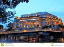 Fullerton Hotel In Evening Singapore Editorial