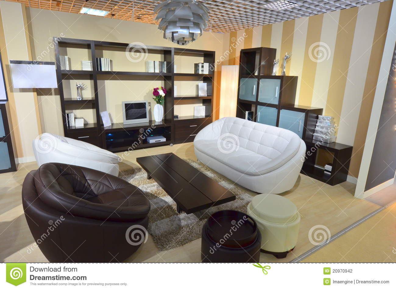 pictures of furnished living rooms room fan light fully area inside our home stock photo image livingroom with white and dark brown leather sofa armchairs
