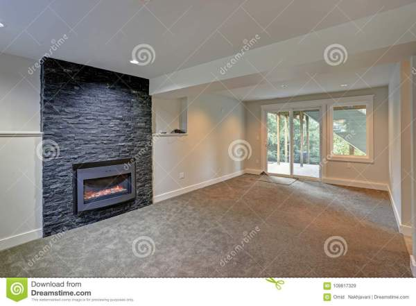 Empty Living Room Interior With Corner Fireplace Stock #76241334
