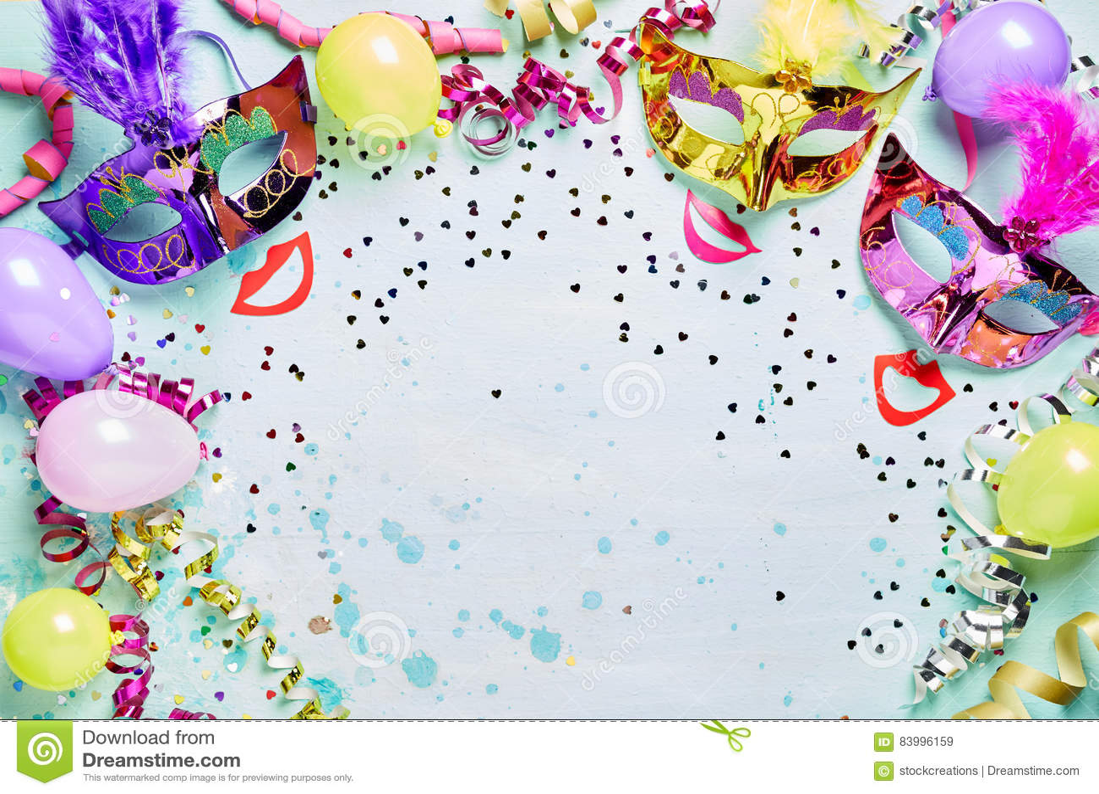 Fun Carnival Masquerade Or Mardi Gras Frame Stock Image